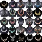 Fashion Womens Jewelry Crystal Statement Bib Chain Choker Necklace Earrings Set