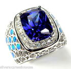 Huge Tanzanite & Blue Fire Opal Inlay 925 Sterling Silver Ring Size 6,7,8,9