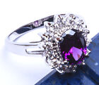 Faceted Amethyst & Russian CZ .925 Sterling Silver Ring Sizes 5-9