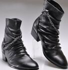Motorcycle Mens high top casual punk rock pointed toe zipper BIker ankle boots