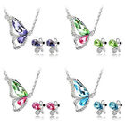 New Lady Crystal Exquisite Butterfly Stud Earrings Necklace Pendant Jewelry Set