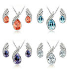Invincible Wedding Crystal Water Drop Leaves Earrings Necklace Jewelry Set