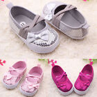 New Toddler Prewalker Sequin Bowknot Sneaker PU Lace Antiskid Baby Crib Shoes