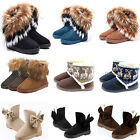 Women Warm Fur Snow Ankle Boots Artificial Suede Bowknot Mid calf Flat Shoes