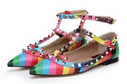 Free Womens Flat Leather Rainbow Rivet T-Strap Buckle Stappy Pointed Toe Shoes