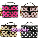 Womens Makeup Cosmetic Case Toiletry Bag Dot Zip Travel Handbag Organizer pouch