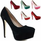 WOMENS LADIES STILETTO HIGH HEEL PLATFORM COURT POINTED PROM PUMPS SHOES SIZE