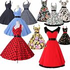 2015 SPRING~ Vintage 1950s Short Prom Dress Swing Rockabilly Floral Halter Party