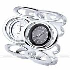 Fashion Women's Double Ring Analog Cuff Bangle Bracelet Quartz Wrist Watch Gift