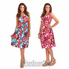 Ladies Floral Print Sleeveless Summer/Beach Sundress Midi Dress Size 8 - 22 NEW