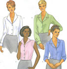 Misses Blouse Sewing Pattern Loose Fit Collar Sleeve Variations Easy 6216 Uncut