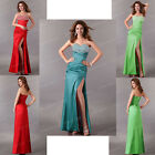 UK Fast Long Satin Beaded Formal Dress Bridesmaid Evening Prom Graduation Dress