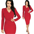 Fashion Womans Long Sleeve V-Neck Hips-Wrapped Pencil Prom Club Dress Plus size