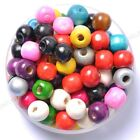 Wholesale 100pcs Bright Color Wooden Round Wood Beads 6mm 8mm 10mm 12mm 14mm