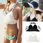 Nice Women Crochet Lace Bralette Knit Bra Beach Bikini Halter Cami Tank Crop Top