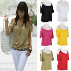 Korea Sexy Women T-shirt Strap Off Shoulder Short Sleeve Casual Loose Tees Tops