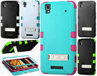 Boost Mobile ZTE MAX N9520 Rubber IMPACT TUFF HYBRID KICK STAND Case Phone Cover