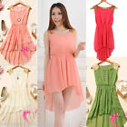 Girls Womens Chiffon Paillette Shoulder Slim Casual Mini Vest Dress