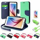 Leather Wallet Case+3ft USB Cable+Film+Car Charger For Samsung Galaxy S6 Edge/S6