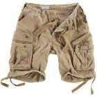 SURPLUS ARMY STYLE AIRBORNE VINTAGE CARGO MENS COTTON COMBAT SHORTS BEIGE WASHED