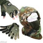Neoprene Fishing Green Gloves Folding Fingers S M L XL With Camo Snood Hat NGT