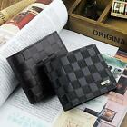 Men's Genuine Leather Bifold ID Card Holder Billfold Zip Purse Wallet Handbag
