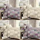 Dreams 'N' Drapes Lila Floral Patchwork Quilted Bedspread, 195 x 229 Cm