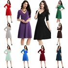 Sexy New Women's V-Neck Maternity Dress Stretchy Tunic Long Sleeve OL Dress
