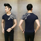 Korean Mens Fashion T-Shirts Short Sleeve Crew Neck Summer Top Young Boy Sutdent