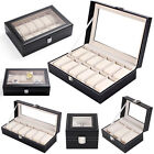 PU Leather Multi Grids Display Box Storage Holder Organizer Case For Watch