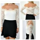 Fashion Women Off Shoulder Long Sleeve Lace Floral Strapless Shirt Blouse Top LJ