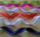 Stitched Grosgrain Ribbon . 15mm. 1 , 3 or 5 Metres . Assorted Colours