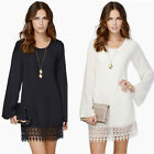 New Womens Hollow Lace Crochet Swing Loose Short Sleeve Mini Dress Top Blouse