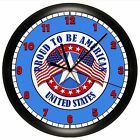 AMERICA WALL CLOCK PERSONALIZED DECOR PROUD TO BE AN AMERICAN PATRIOTIC USA