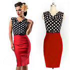 Womens Vintage Rockabilly 50's Polka Dots Evening Cocktail Party Pencil Dresses