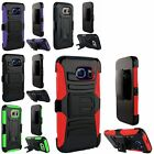 For Samsung Galaxy S6 Edge Heavy Duty Armor Case Skin w/ Belt Clip Holster Stand