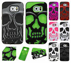 For Samsung Galaxy S6 SKULL Hard Hybrid Dual Layer Soft Rubber Case Phone Cover