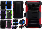 For LG Lucky L16C Hybrid Combo Holster KICKSTAND Rubber Case Phone Cover