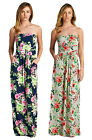 Floral Printed Strapless Women's Maxi Dress - Made in USA