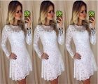 White Women/Lady Casual Dresses Sexy Perspective Lace Long Sleeve Ball Gown  LJ