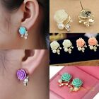 Nice Korean Style OL Rose Flower Gorgeous Crystal Rhinestone Pearl Stud Earring