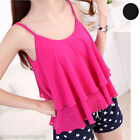 Womens Lady Summer Chiffon Loose Layer Vest Tank Tops,3 Colors Available