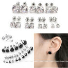 Men Womens 18K White Gold Plated Cubic Zirconia CZ Gem Crystal Ear Stud Earrings