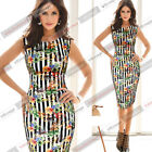 Womens New Summer Sleeveless Striped Floral Print Casual Style Bodycon Dress 592