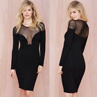 SEE-THROUGH BLACK BODYCON DRESS BANDAGE STRETCH CLUB WEAR 5SIZES XS-S-M-L-XL