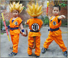 NEW Dragon Ball Z Child Kids Son GOKU Turtle Word Cosplay Party Costume+Wig