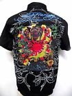 Ed Hardy Mens Platinum Love Kills Kamakazi woven Shirt button up signature Black