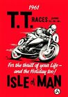 VINTAGE 1960'S TT ISLE OF MAN MOTORBIKE MOTORCYCLE RACE A3 POSTER RE-PRINT