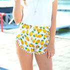 FREE SHIP NEW Lady Summer Pineapple Print Chiffon Beach Boho Shorts Casual Pants