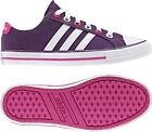 Girls Adidas Neo 3 Stripes Purple Canvas Pumps Plimsolls Sneakers Cool Trainers